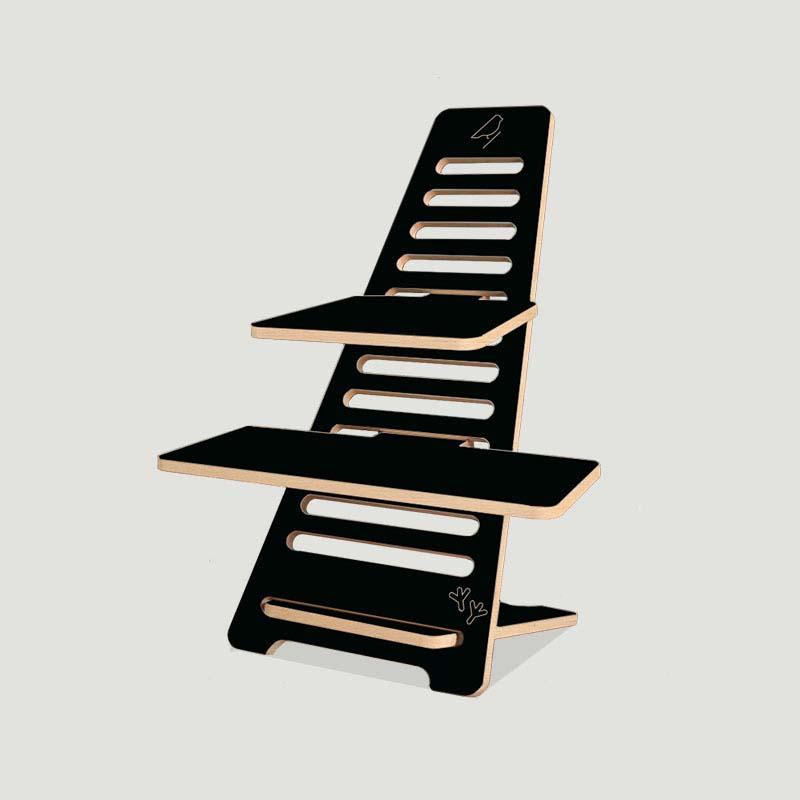 lourens woodworks sta bureau noxx hout zwart met grijze achtergrond