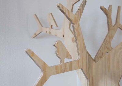 lourenswoodworks kapstok boom tilda blank hout detail vogel