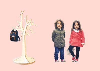 lourenswoodworks kapstok boom tilli wit gekleurde achtergrond